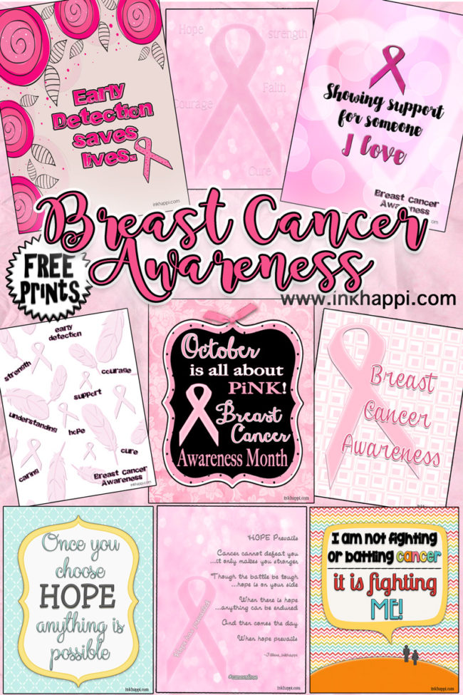 Breast Cancer Awareness month free printables. Spread the word to bring awareness. It could save a life!