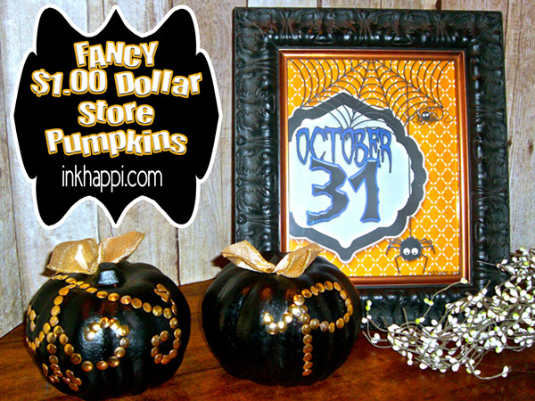Decorated pumpkins from the dollar store done all fancy!