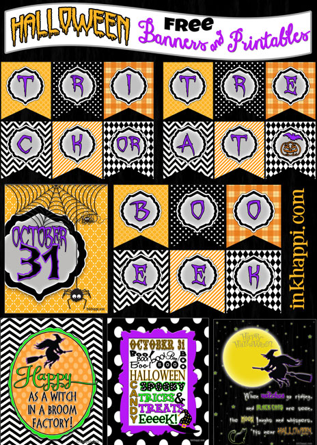 Lots of awesome free HALLOWEEN printables and  banners!