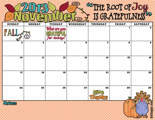 November 2013 calendar and free gratitude print from inkhappi.com Enjoy!