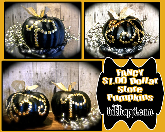 DIY pumpkin with NO ROT!! And under two dollars! Dollar store pumpkins given a quick and easy personalized touch with black and gold!