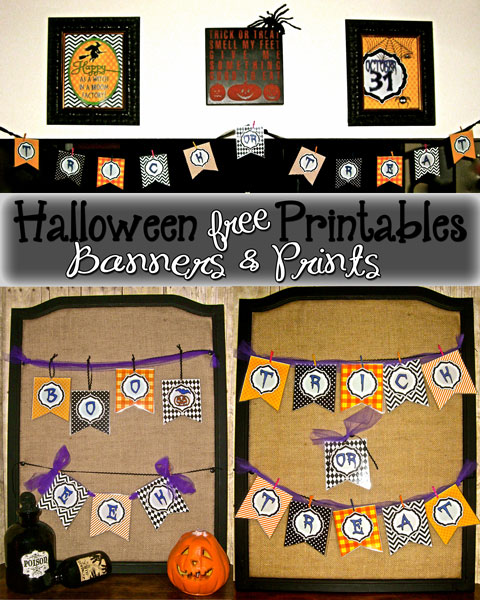 Some fun free Halloween printables and banners. Super easy to print and cut out to add flair to any halloween presentation!