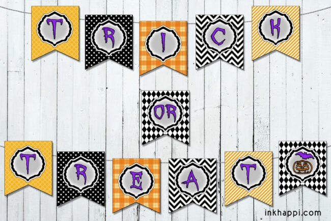Use these trick or treat halloween banners in different ways to celebrate this spooky holiday! #halloween #banners #freeprintables