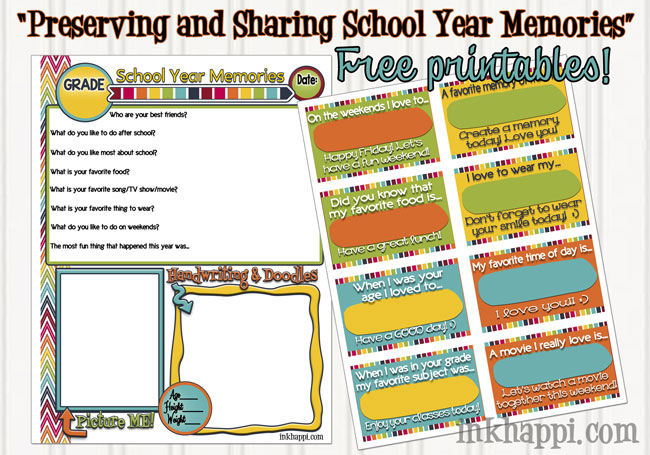 Preserving and sharing school year memories with these cute memory pages and lunchbox notes! #freeprintables #schoolyearmemories