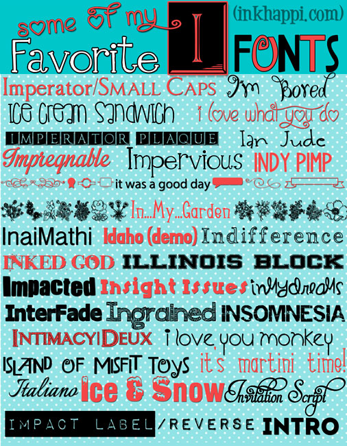 "Sharing a series of A-Z font downloads and here are the ""I"" fonts. Lots of font posts at inkhappi.com! #freefontdownloads"