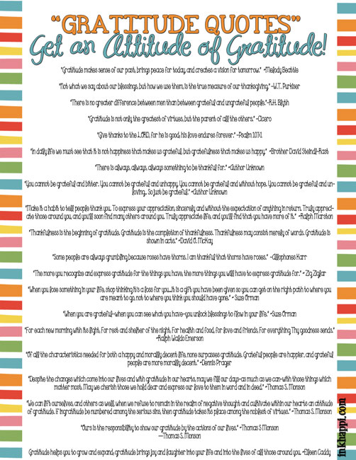 42 wonderful gratitude quotes printable as well as many other free gratitude printables at inkhappi.com #gratitudequotes