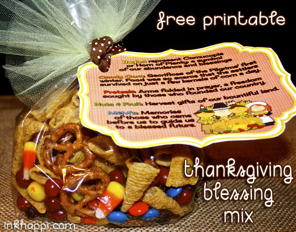 Thanksgiving Blessing Mix. Something to munch on while watching football or visiting with family on thanksgiving. Free printable tags for gifting!