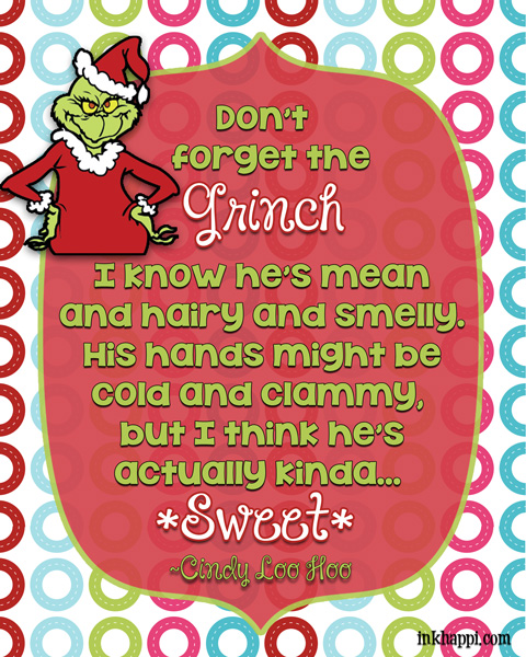 Oh Cindy Loo Who knows a few things! Christmas movie quotes. Several free printables!
