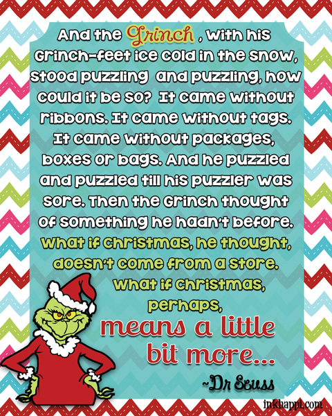 Perhaps Christmas means something more… Christmas movie quotes. Several free printables!