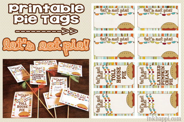 Cute printable pie tags!