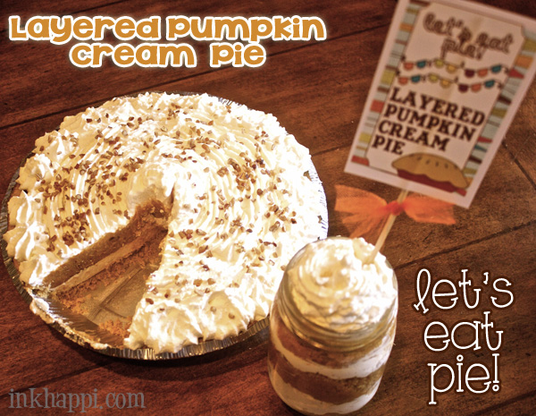 Layered Pumpkin Cream Pie and pie tags