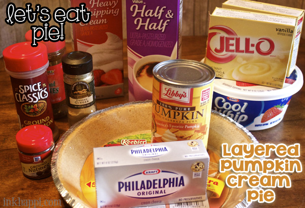 ingredients for layered pumpkin cream pie--YUM!