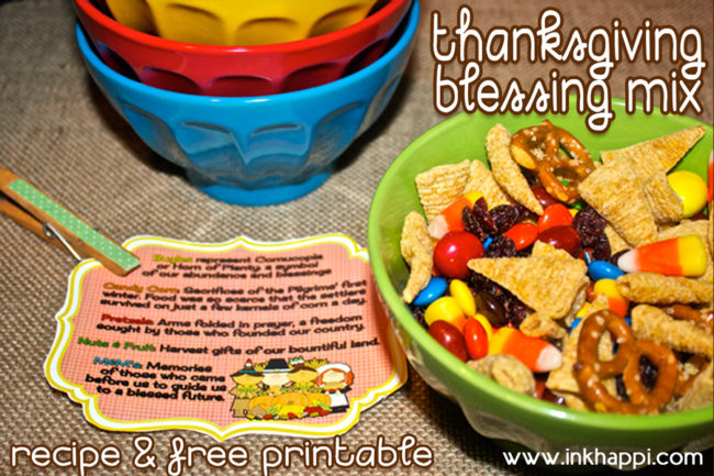 Thanksgiving Blessing Mix. A yummy snack that has meaning. Each item represents part of Thanksgiving. recipe and free printable tags for great gift or display! #blessingmix #thanksgiving #gratitude #freeprintable #recipe #gratitudegift