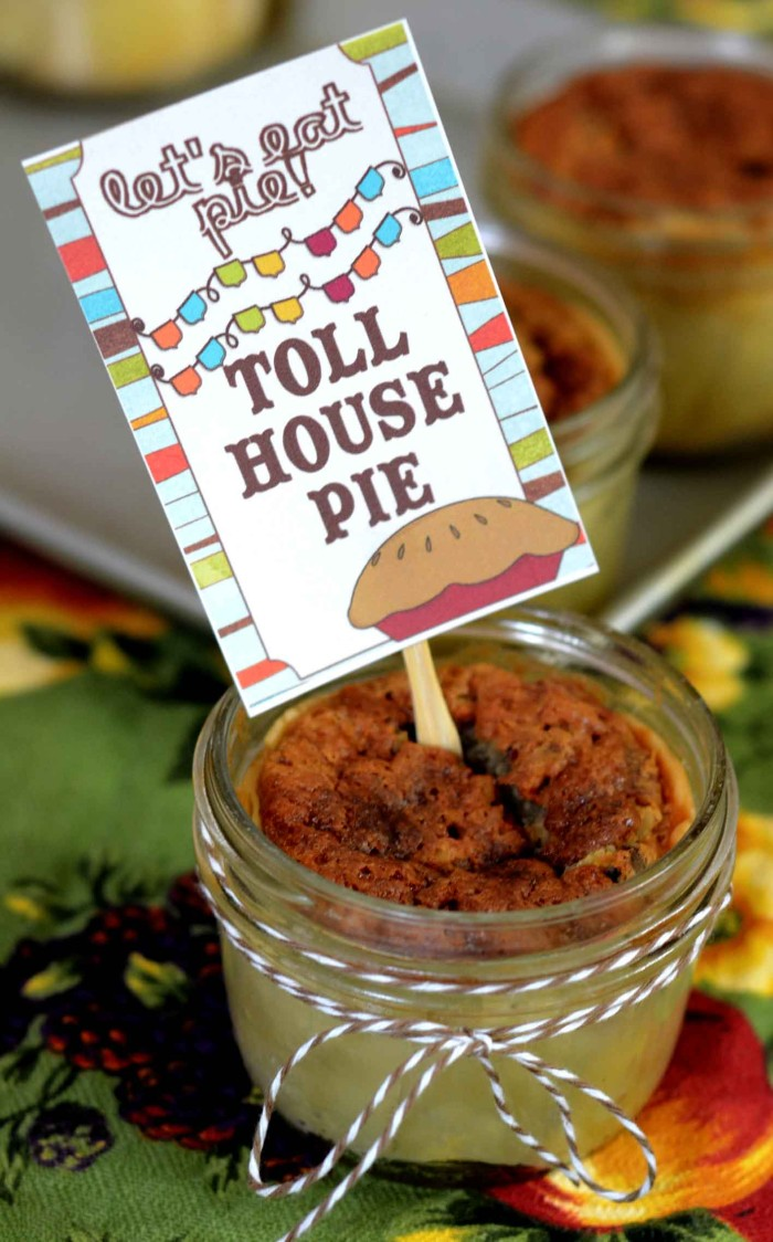 Amazing toll house pie in a jar from Pink Cake Plate and printable pie tags from inkhappi