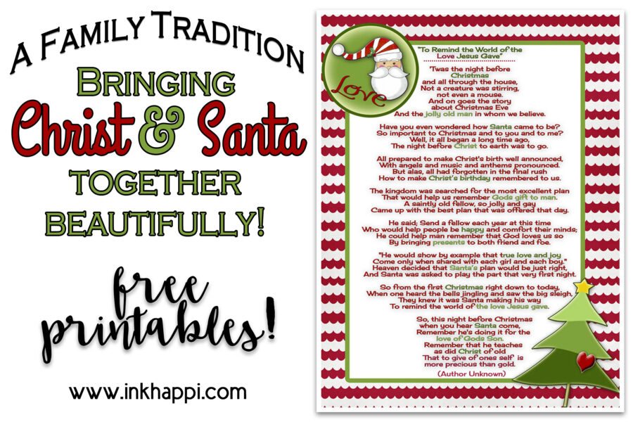 CHow do Santa and Christ go together? How can Christmas truly encompass Santa and Christ together? What do Santa and Christ have in common? How can Christmas be celebrated with Santa and Christ both a part of it? This is it! A beustiful family tradition that tells Santa's role in the true meaning of Christmas. Free Printables included! #santa #Christmas #Christ #freeprintable
