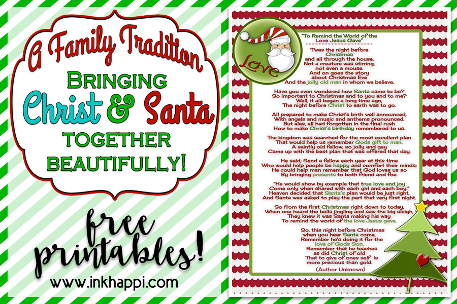 picture regarding Twas the Night Before Jesus Came Printable named Santa and Christ Poem and a Xmas Culture - inkhappi