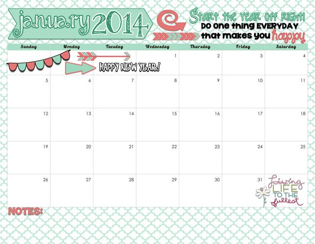 Here is your January 2014 Calendar. Start the year off right! Free printable at inkhappi.com
