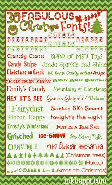 30 favorite Christmas fonts… all free to download!