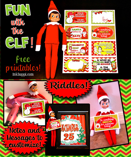 Fun, fun, fun printables for your Elf or other purposes such as lunchbox notes, or gift tags. Enjoy this free printable from inkhappi.com
