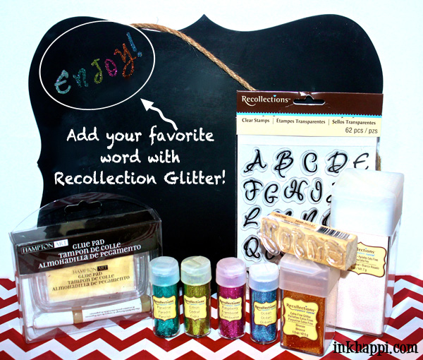 Add your favorite word in glitter to a chalkboard or any surface you'd like to add some pizazz to! #glitteratmichaels