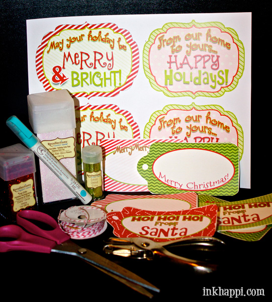 Glitter gift tags. So simple yet add a special touch. You don't even need a pen. Free printables!