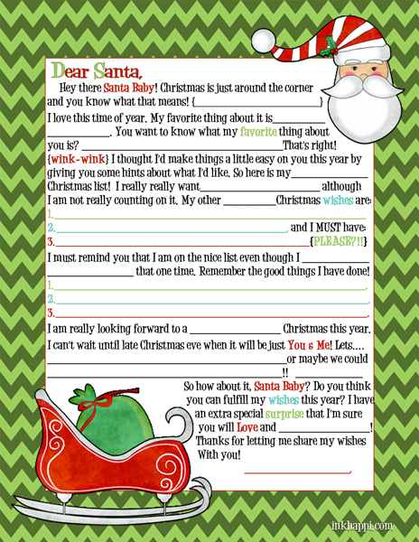 Letters to Santa {mad lib style}… for Adults {wink-wink}