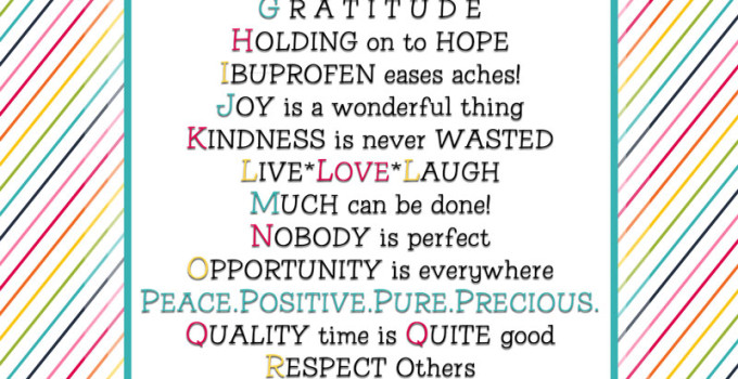 List your thoughts ABC style! Here is an inspirational list to get you thinking. :) Free printable!