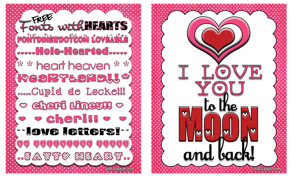 10 free fonts with hearts download links and free printable love you to the moon and back!
