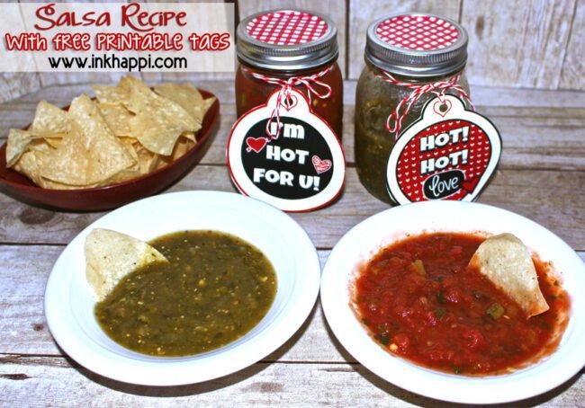 HOT for U! Cute printable tags and a salsa recipe. Fun Valentine gift idea. :) #valentine #salsa