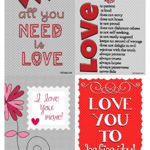 Pass along these free printable cards and spread the love! Some fun expressions of love in either 4x5 card size or 8x10 free printables.