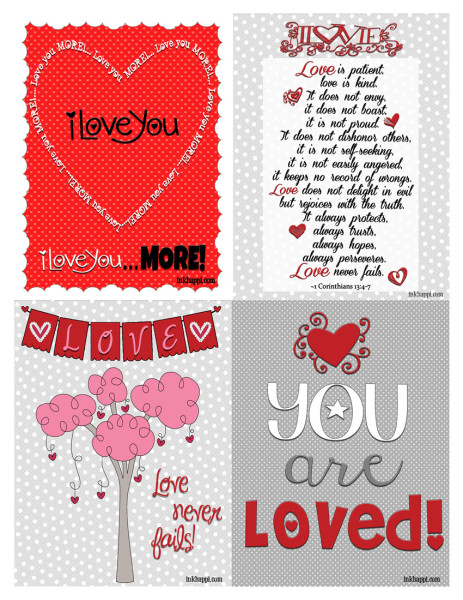 Pass along these free printable cards and spread the love! Some fun expressions of love in either 4x5 card size or 8x10 prints.