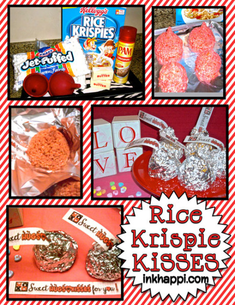 Rice Krispie kisses with free printable tags. So fun, easy, & YUMMY!