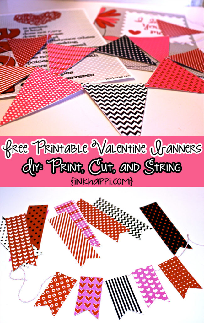 Valentine banners: Fun! Easy! DIY! Add pizazzz to your valentine decor! #freeprintables #valentines