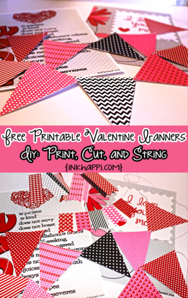 Some fun valentine banners to add an extra touch to valentine decor. Free diy project...just print, cut and string!