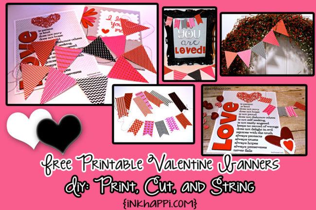 Valentine banners: Fun! Easy! DIY! Add pizazzz to your valentine decor! #freeprintables #valentines