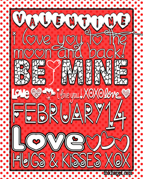 Valentine Subway Art free printable using all valentine fonts. Get 27 free font download links too!