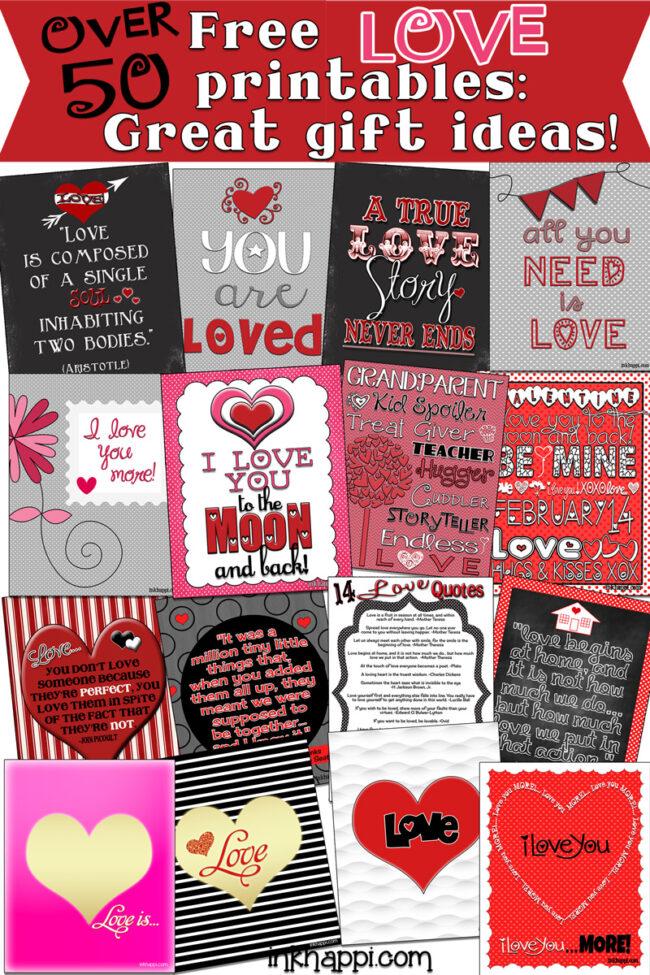 Over 50 LOVE prints! #freeprintables  #love