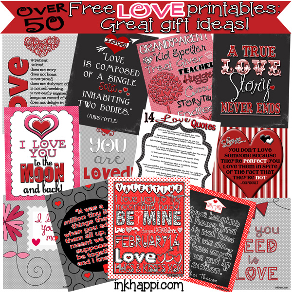 Over 50 love related printables. Fun prints and some great gift ideas! #freeprintables #love #valentines