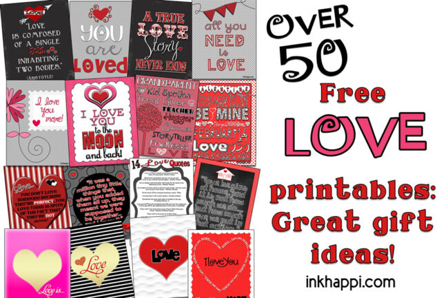 over 50 various love prints! #freeprintables  #love
