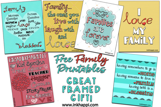 Several free printables about family and love. Great framed gift idea!