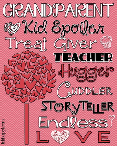 Cute granparent subway art free printable. Great valentine gift idea for grandparents!