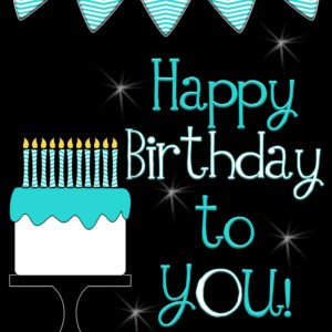 Cute happy Birthday Poster. free printable! Also in pink