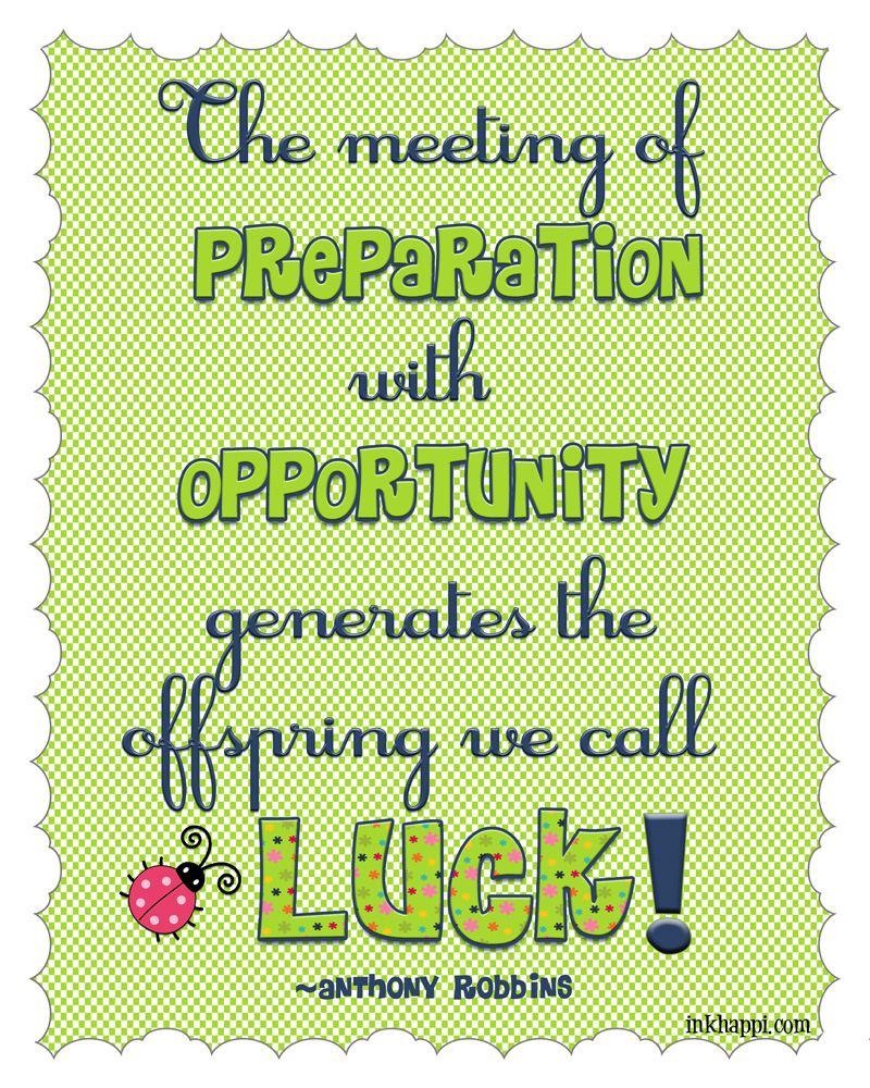 "March 2014 Calendar and ""Lucky"" Quote. Free printables from inkhappi.com"