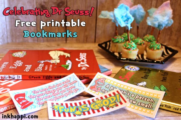 Dr Seuss printable bookmarks. 4 styles, 8 to a page
