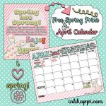 Spring has Sprung! Free Spring print ansApril calendar from inkhappi.