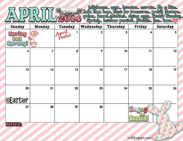 April Calendar 2014 free printable from inkhappi.com