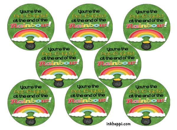 Pot of gold at the end of the rainbow gift tags.. Surprise your co-workers or family with this to add some fun to their day. #freeprintables #stpatricksday