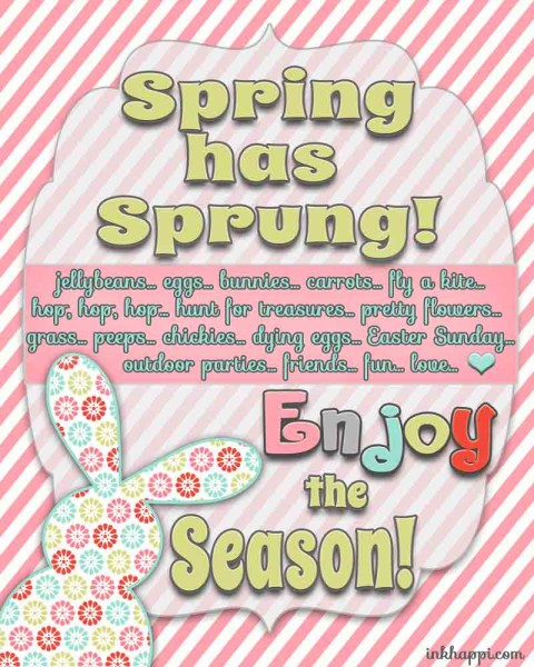 Spring has Sprung! Free Spring / Easter printables that goes along with the April calendar from inkhappi. Yay!