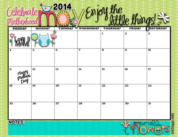 Love this cute free printable May 2014 calendar!