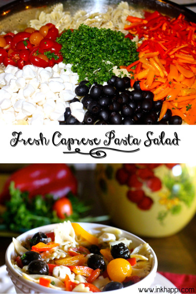 An awesome blend of fresh ingredients to create this amazing  pasta salad!